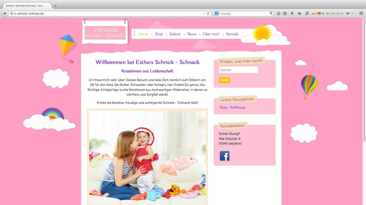 Screenshot der Webseite Esthers Schnick Schnack