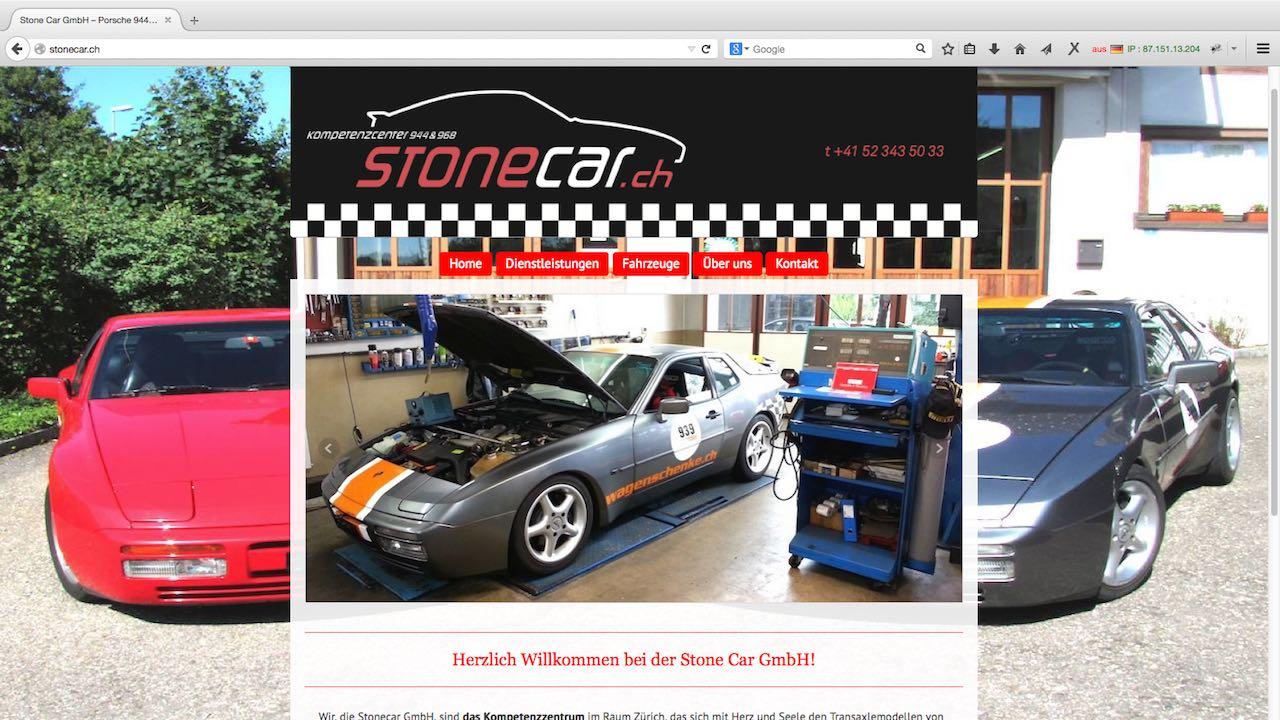 Webseite der Stonecar GmbH Zürich