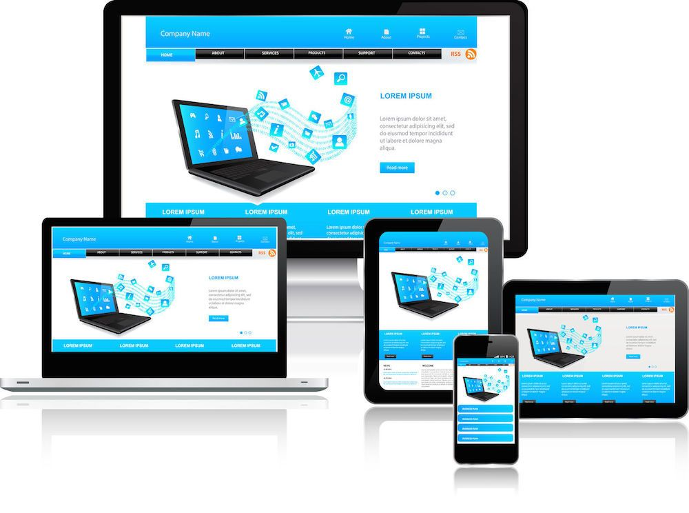 Responsive Webdesign Illustration anhand mehrerer Endgeräte