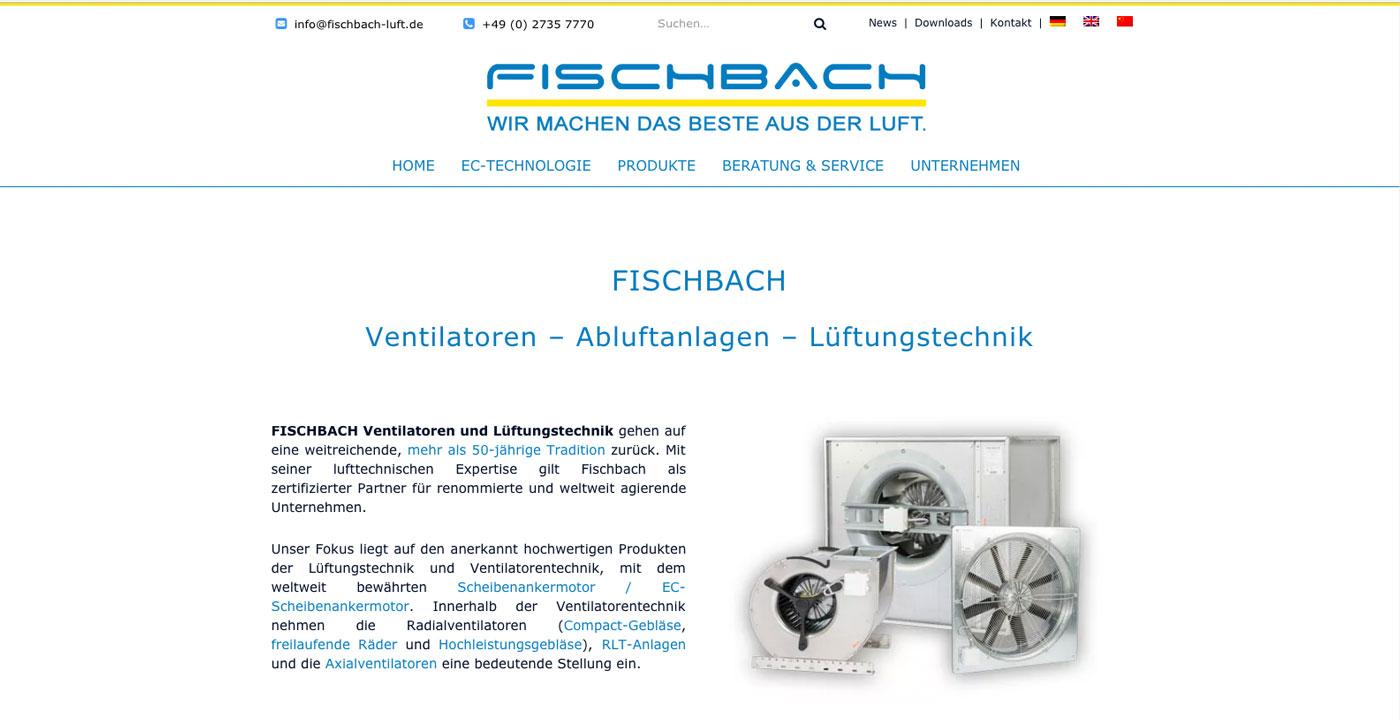 Webdesign Siegen Referenz der Webseite Fischbach Luft und Ventilatorentechnik
